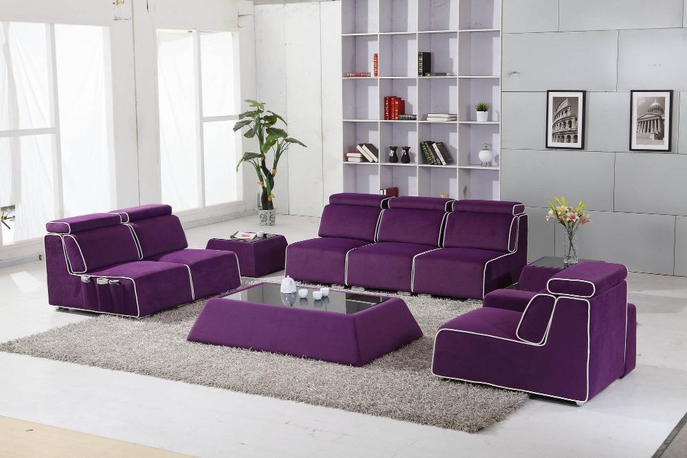 Всекидневна с лилави мебели, модерен стил