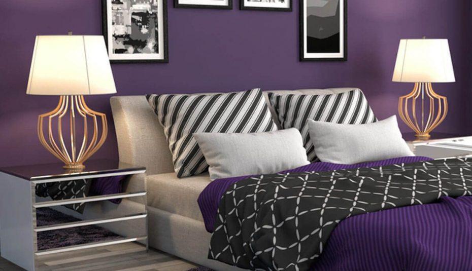 Дизайн на спалня в лилаво